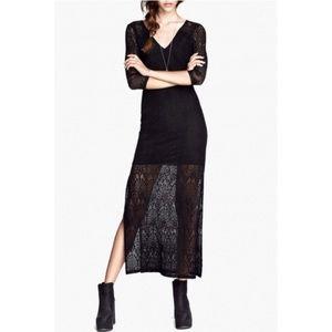 Divided Black Split Sides Lace Crochet Maxi Dress
